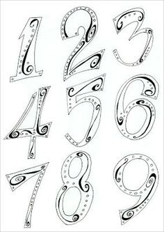 Hand Lettering Numbers: I like the doodles INSIDE the numbers Hand Lettering Fonts, Doodle Lettering, Creative Lettering, Lettering Styles, Lettering Ideas, Fancy Fonts, Cool Fonts, Doodle Drawings, Doodle Art