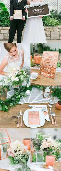 Chic wedding idea with green and copper colors; photo: Jessica Cooper Photography