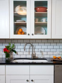 White Subway Tile Kitchen Backsplash Grey Grout Back Splashes Options If it regards cabinets, they're a considerable part every room whether it's a be. White Beveled Subway Tile, White Subway Tile Backsplash, Subway Tile Kitchen, Kitchen Backsplash, Backsplash Ideas, Subway Tiles, Tile Ideas, Kitchen Sink, Backsplash Design