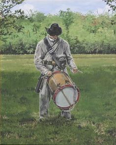 Civil War Confederate Drummer Drumming Practice Fine Art Print by Artist Cathy Cooksey