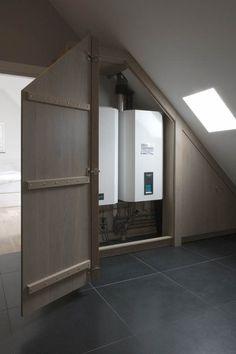 verwarmingsketel achter kast, Mereno www.loomanskeukens.nl