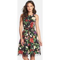 Eliza J impresión floral Faille Fit & llamarada vestido