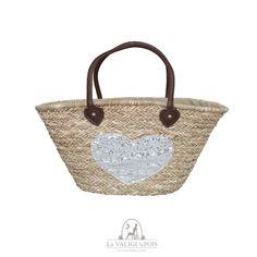 Bag Cuore - Borsa in paglia naturale intrecciata con cuore di strass argento, capiente, con fodera interna e manici in pelle.