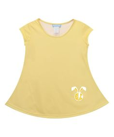 Light Yellow Monogram Bunny Laurie Top - Toddler & Girls
