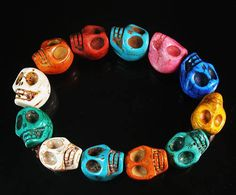 Cool Newstyle For Men Howlite MulticolorTurquoise Skull Beads Stretch Bracelet