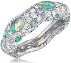 mimi sos zozo opal and diamond pave ring 138 carats of opals and 187 carats - Black Opal Wedding Rings