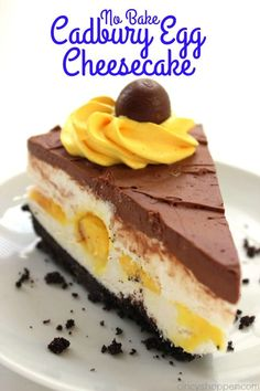This Easy No Bake Cadbury Egg Cheesecake will be all the talk at Easter dinner. Not only does it look decadent, it tastes amazing. Easter Recipes, Holiday Recipes, Easter Desserts, Easter Cake, Holiday Meals, Egg Recipes, Recipies, Cheesecake Recipes, Dessert Recipes