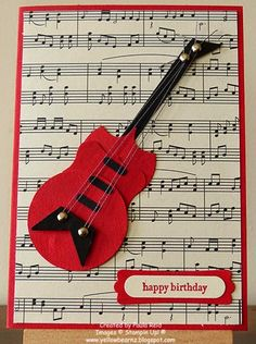 Hi there   Last month our friends youngest son turned 3. He loves guitars (along with lawn mowers - last year's card ) so I thought I'd mak...