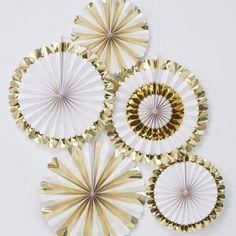 Gold Foiled Paper Fan Decorations(Pk5)