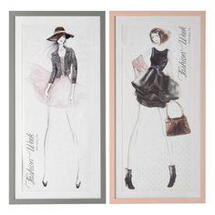 2 tableaux silhouettes en plastique effet bois 55 x 110 cm FASHION