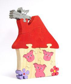 Puzzle Les trois petits cochons : Jeux, jouets par artisan-une-souris-verte
