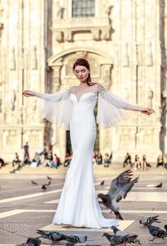 gemy maalouf 2017 bridal three quater angel sleeves deep sweetheart neckline simple clean middle slit sophiscated fit and flare wedding dress sweep train (4819) mv