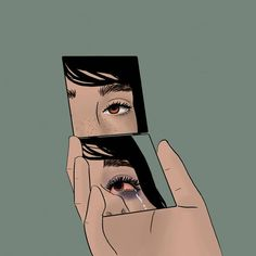 """""""mirrors lie to crazy people like me. Dark Art Illustrations, Illustration Art, Aesthetic Art, Aesthetic Anime, Art Sketches, Art Drawings, Drawing Faces, Arte Grunge, Arte Peculiar"""