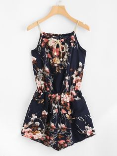 Floral Print Random Self Tie Cami RomperFor Women-romwe Cool Outfits, Summer Outfits, Casual Outfits, Casual Clothes, Fashion Lookbook, Fashion Trends, Clothing Items, Street Wear, Floral Prints
