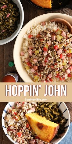 Hoppin' John is a Southern new Year's Day staple. The rich dish of black-eyed peas, smoked pork, and rice is a favorite and is said to bring prosperity and good luck in the New Year. This recipe adds tomatoes for an extra kick and uses frozen peas to make it quick and easy, but dried peas can be used as well. Entree Recipes, Side Dish Recipes, Pork Recipes, Crockpot Recipes, Southern Cooking Recipes, Cooking 101, Southern Food, One Pot Meals, No Cook Meals