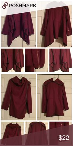 Open Front Cardigan Jacket Super stylish and trendy cardigan/jacket that can be worn with anything. I wore it twice--but it's too big for me. In excellent condition. The tags were removed for comfort, but it is a size XL and is a lightweight wool blend material. The color is maroon/burgundy. Jackets & Coats