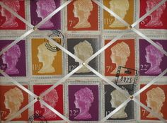 Medium Prestigious Mulberry First Class Stamp Hand Crafted Fabric Notice / Pin / Memo Board