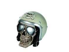 Skull spaarpot motorrijder. Deze unieke spaarpot met slotje is gemaakt in de vorm van een skull met een motorhelm en zonnebril. #skull #spaarpot