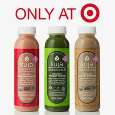 Suja Essentials are great for anytime, anywhere refreshment and are packed with vital nutrients, amino acids, omegas & antioxidants. All Suja Essentials are USDA certified Organic, Non-GMO & Cold-Pressured. available only at Target  better than the Blue Print Cleanse & for a fraction of the price!