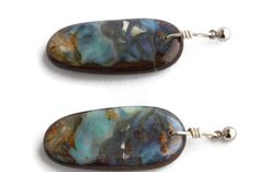 Solid Boulder Opal Earrings with Silver Top - Opal Art Global Boho Jewelry, Gemstone Jewelry, Jewelry Design, Free Shapes, Silver Tops, Opal Earrings, Turquoise Bracelet, Boho Fashion, Boho Chic