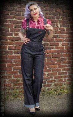 Ladies Denim Playsuit by 50 Fashion, Denim Fashion, Modest Fashion, Retro Fashion, Vintage Fashion, Fashion Outfits, Lolita Fashion, Fashion Boots, Fashion Ideas