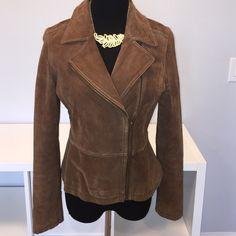 Halogen Suede Jacket 100% leather jacket! Super flattering cut! Zippers around the wrist. Great condition! Halogen Jackets & Coats
