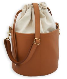 Large Ditty Bag in Amoré - Natural Canvas and Leather - Large Tote - Drawstring Bucket Bag by Beaudin - pinned by pin4etsy.com