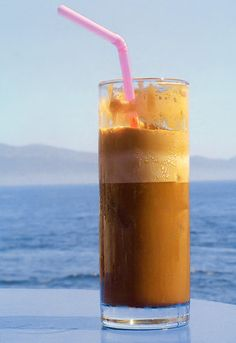 Greek Frappe - iced coffee frappe. These are to die for. My sister and I drank a lot of them in greece after seeing everyone else with them. They are delicious and easy to use especially if you have a Braun Hand Blender.