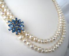 Pearl, Sky Blue Rhinestone Necklace