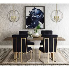 These dining chairs really stand out, in the best way. --TOV Furniture Modern Akiko Navy Velvet Chair (Set of Solid Wood Dining Set, 5 Piece Dining Set, Modern Dining Table, Dining Room Sets, Dining Chair Set, Dining Room Design, Dining Furniture, Elegant Dining, Dining Tables