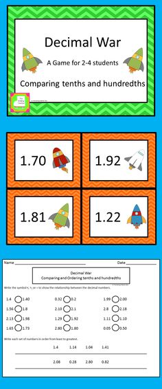 Your students will love practicing comparing decimals by playing Decimal War.  Students can play in groups of 2 to 4.  An independent practice page with answer key is also included. $