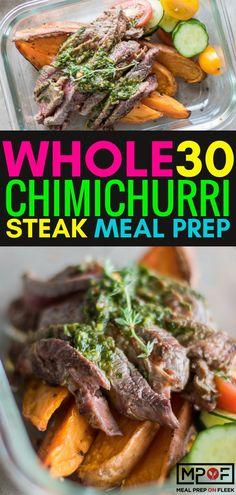 Chimichurri Steak Meal Prep Meal Prep on Fleek™ - Paleo Rules Paleo Meal Prep, Lunch Meal Prep, Easy Meal Prep, Meal Preparation, Paleo Meals, Dinner Meal, Keto Meal, Lunch Recipes, Paleo Recipes