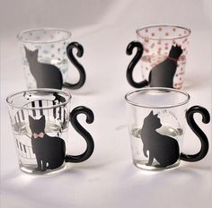 Cute Creative Black Tail Cat Kitty Glass Cup - Tap the link now to see all of our cool cat collections!