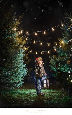 Christmas Minis sessions at night Trees nursery with string lights - Children   by Genevieve Albert Photographe www.genevievealbert.com
