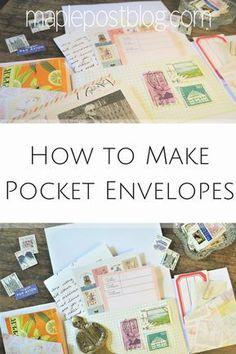 How to Make Pocket Envelopes - Maple Post Pocket Envelopes, Mailing Envelopes, Paper Envelopes, How To Make An Envelope, Diy Envelope, Pen Pal Letters, Pocket Letters, Snail Mail Flipbook, Snail Mail Pen Pals