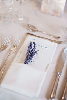 Lavender Sprigs Tucked into Napkin wedding reception place setting with a printed menu and sprigs of lavender tucked into ivory napkin Wedding Table Place Settings, Wedding Reception Places, Wedding Reception Planning, Wedding Menu Cards, Wedding Ideas, Wedding Tables, Wedding Pictures, Wedding Plates, Wedding Napkins