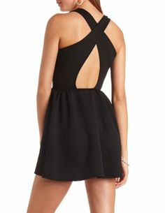 Geo-Quilted Sleeveless Skater Dress: Charlotte Russe