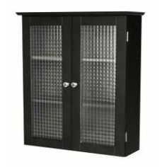 bathroom wall cabinet with two glass doors in dark espresso
