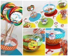 """Seusstastical Birthday Party- one fish, two fish, gummy fish. Lollipop favor with """"oh the places you'll go"""""""