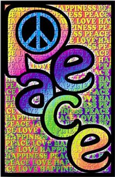 Colorful peace , love, and happiness paper