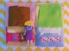 Dollhouse quiet book bed & bath page idea. Clothes are inside the closet and the bubble bath tub is behind the curtain.