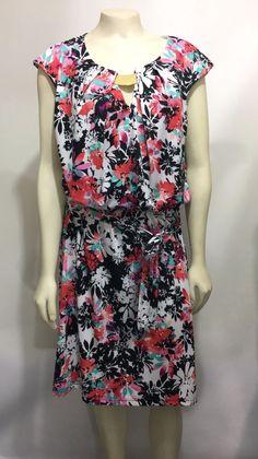 Emma & Michele Womens L Multi-Color Cap Floral Sleeve Knee-Length Dress #EmmaMichele #Blouson #Versatile