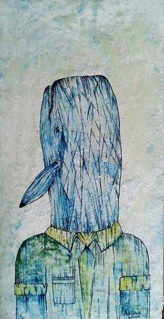 """""""sr cabeza de ballena"""" ,Adnan Galva  Técnicas mixtas  Arte en Pintura  facebook Arte Galva"""