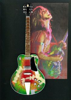 Mark Farner of Grand Funk Railroad played this Messinger guitar though most of the early years of GFR. Aluminum neck with a switch near the vibrato to turn on/off fuzz tone. He also stuffed foam in the F-holes to negate feedback. The paint job was Farner also...a real rock gem...