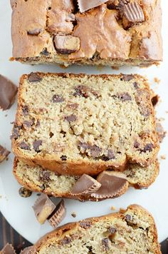 Super moist banana bread made with peanut butter and Reese's cups. We loved every last crumb!