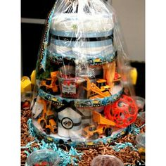 """Tonka Trucks"" themed baby shower.   Gift Diaper Cake!     LAFJ® EJTownsend©"