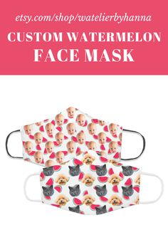Custom Face Mask With Watermelon Pattern / Personalized Photo Face Cover / Cat Dad Dog Mom Baby Gift #FaceMasks Gifts For Coworkers, Gifts For Girls, Gifts For Dad, Baby Gifts, Cat Dad, Dog Mom, Watermelon Face Mask, Etsy Handmade, Handmade Gifts