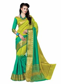 Attractive Green Silk Saree ,Indian Dresses