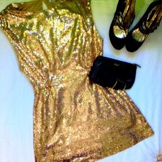 Gold Sequin Dress Gold Sequin Mini Dress, Sleeveless, One Back Button Clasp at Neck Line JustFab Dresses Mini