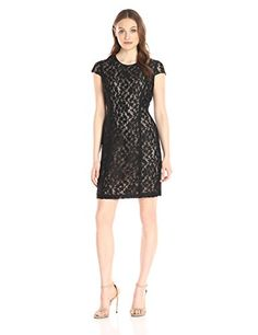 Lark  Ro Womens Short Sleeve Graphic Lace Sheath Dress Black 8 *** Find out more about the great product at the image link.